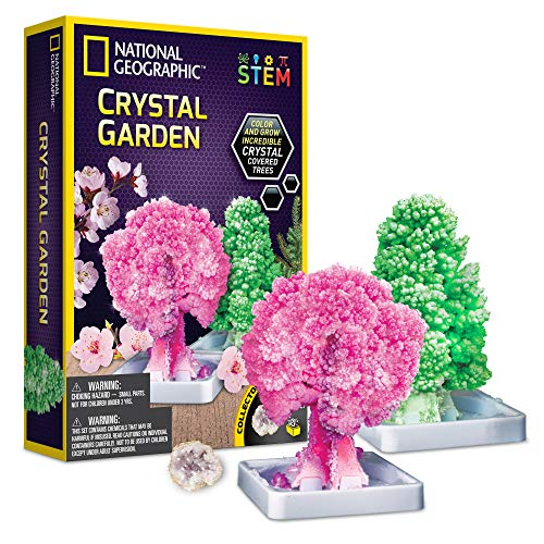 NATIONAL GEOGRAPHIC Crystal Growing Garden – Grow Two Crystal Trees in Just 6 Hours with This Crystal Growing Kit for Kids, Includes Geode, Learning Guide, and More, Great Gift for Boys and Girls