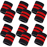 Bememo 12 Pack Striped Sweatbands Wrist Sports Wristband Cotton Wrist Band Sweat Band for Men and Women, Good for Tennis, Basketball, Running, Gym, Working Out
