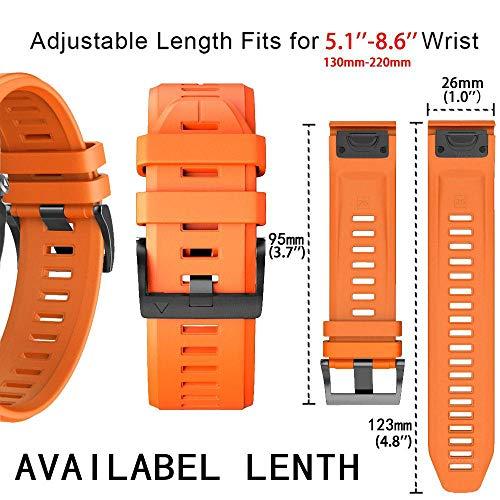 YOOSIDE for Garmin Fenix 3 Watch Strap, 26mm Quick Fit Silicone Sport Waterproof Replacement Watch Band Strap for Garmin Fenix 5X/5X Plus /D2 Charlie/Fenix3/3 HR/Quatix 3/Tactix Bravo, Orange