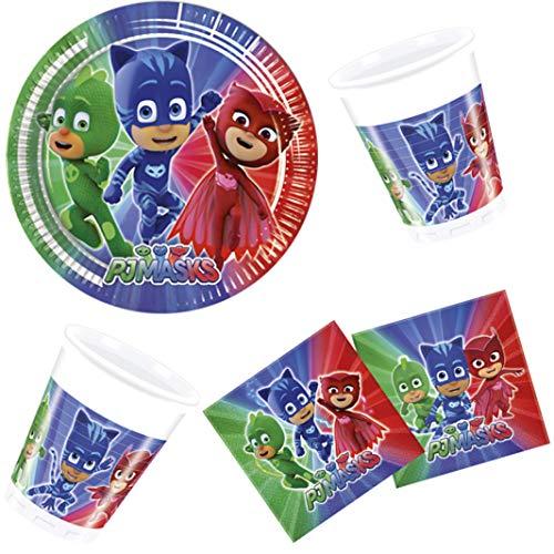 PJ Masks – Pyjamahelden Geschirr-Set 36-teilig Servietten Pappteller Pappbecher Kindergeburtstag Partygeschirr 8 Kinder