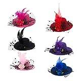 Barrette à Cheveux Vintage Mini Chapeaux (pack de 6) - Accessoires Pince Décoratifs pour Cheveux - 6 couleurs