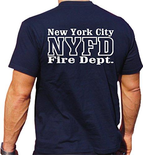 T-shirt Inscription New-York City Fire Dept. Bleu Bleu L