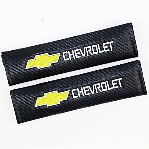 ONETOOSE 2 Fundas para CinturóN De Seguridad para Hombreras, Fibra De Carbon,con Logotipo Bordado, Funda Protectora para CinturóN De Seguridad, para Chevrolet Logo