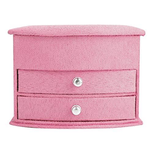 OIHODFHB Rosa 3 capas portátil joyería pendientes anillos pulsera collar caja organizador almacenamiento