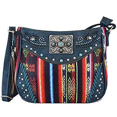 Native Studded Concealed Carry Purse Women Rhinestone Cross Body Handbags Leather Single Shoulder Bags (Teal)