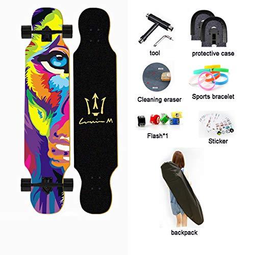 AYYSHOP Drop Through Longboard Skateboard Freeride - Inklusive T-Tool Und Verschiedenem Zubehör, Longboards Skateboard Für Cruisen, Carven, Free-Style, Downhill Und Tanzen,M