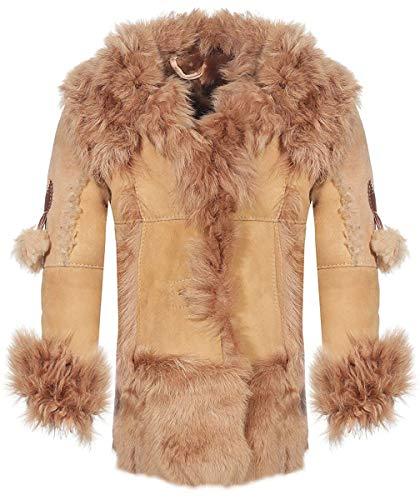 Hollert Kinder Lammfelljacke Modell 2 Winterjacke Mantel warm mit echten Toscana Lammfell und Veloursleder Größe 104, Farbe Beige/Braun