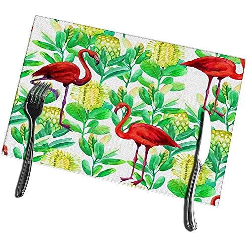 sunnee-shop eettafel placemats set met 4 flamingo- en jungle-bloemen