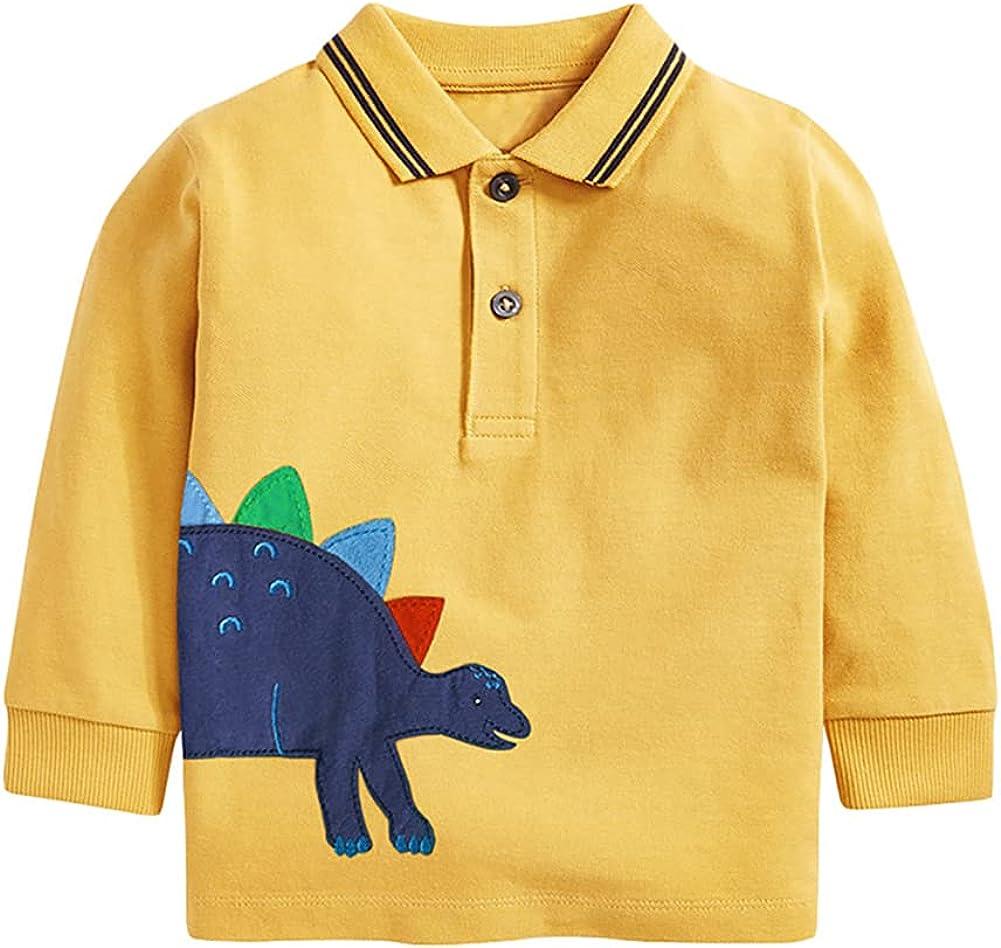 LittleSpring Little Boys Cartoon Polo Shirt Long Sleeve Knitted Cotton T Shirt