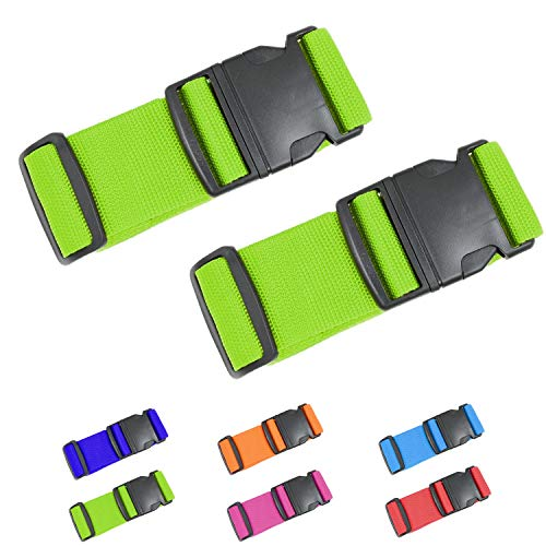 AOKLANT Luggage Strap Suitcase Straps   2' Width X Maximum Length 79'   Heavy Duty Nylon Strap with Address Tag   2 Pack
