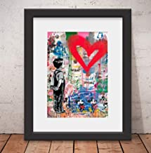 Quadro Decorativo Mr Brainwhash Love Banksy Vidro & Paspatur 46x56cm Mr01