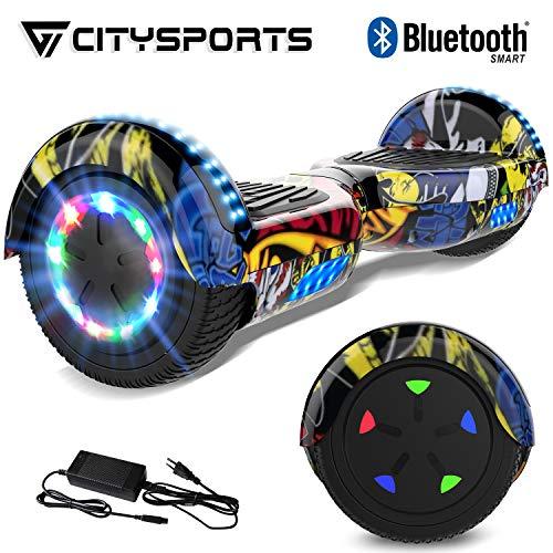 CITYSPORTS Scooter Elettrico Scooter da 6.5 Pollici, Motore con LED e Bluetooth Integrato, Motore 2 * 350W