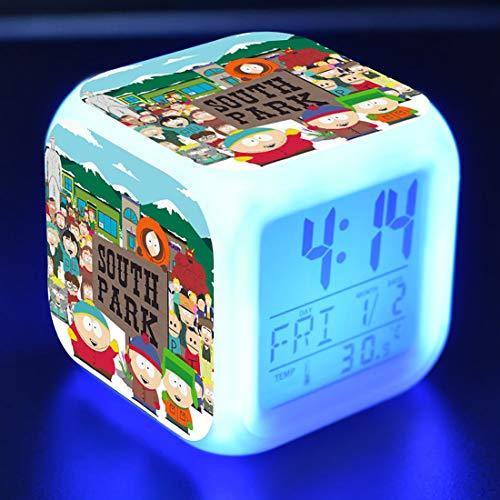 SXWY South Park Digitale wekker, kleurrijke lichten, sfeerhorloge, vierkante klok beschikbaar via USB-oplading, geschikt voor jongens en meisjes, kinderen, bijzondere cadeaus, 01