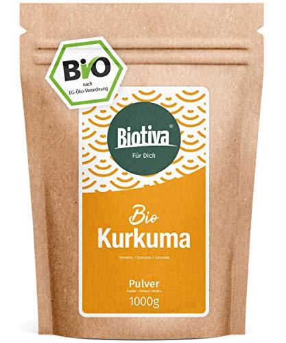 Bio-Kurkuma-Pulver (1000g) - hochwertige Kurkumawurzel (Curcuma) gemahlen - Superfood - wiederverschließbarer Vorratsbeutel - Abgefüllt in Deutschland (DE-ÖKO-005)