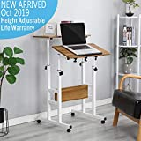 Qwork 2-Tier Mobile Standing Desk Stand Up Desk Height Adjustable Laptop Desk Home Office Workstation Ergonomic Sit-to-Stand Table Tilting Computer Desk on Wheels for Home Office School, Ancient Oak