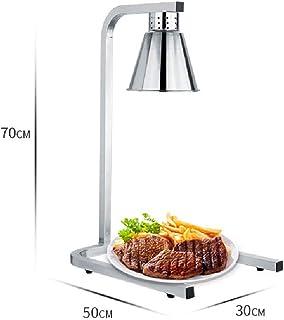 JHMIN Lámpara calefactora de Alimentos Cabezal Individual Lámpara portátil de Calor Comercial Luz calentadora de Alimentos, Plateada