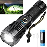 Rechargeable Led Flashlights High Lumens, 90000 Lumens Super Bright Tactical Flashlight with 5 Light Modes and 26650 Battery Zoomable Waterproof Flashlight for Hiking Camping Cycling (Black)