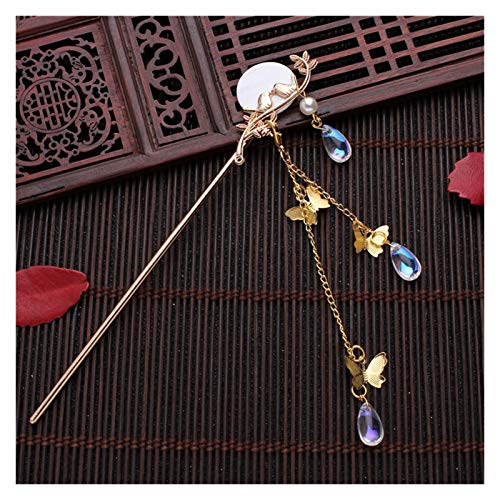 Pearl Plate Hairpin Red White Bridal Headdress Hair Sticks Jewelry Ornaments (Color : Round Gold)