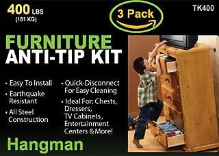 Hangman Anti-Tip Kit to Prevent Furniture Falling-Steel (TK-400-3)