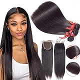 Human Hair Bundles With Closure For Black Women Brazilian Virgin Unprocessed Straight 100% Human Hair Extensions 3 Bundles With Lace Closure (16 18 20+14 Free Part Closure)