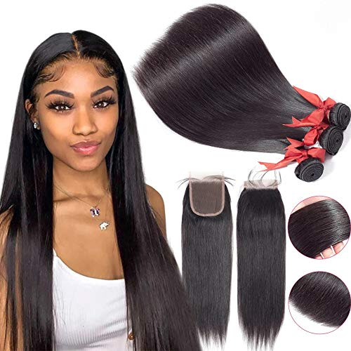 Human Hair Bundles With Closure For Black Women Brazilian Virgin Unprocessed Straight 100% Human Hair Extensions 3 Bundles With Lace Closure (18 20 22+16 Free Part Closure)