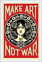 ポスター オベイ Male Art Not War/Shepard Fairey 手書きサイン入り 額装品 ウッドハイグレードフレーム(ホワイト)