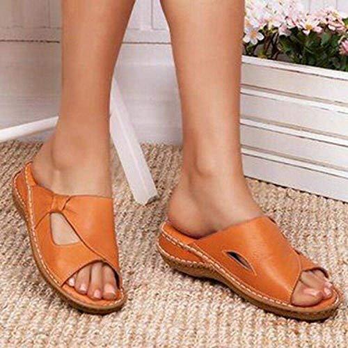 Sandalias Eva Toe Post Flip Flop, zapatillas de punta abierta para mujer, sandalias de tacón de cuña, color caqui, 35, antideslizantes para la playa para interiores fangkai77