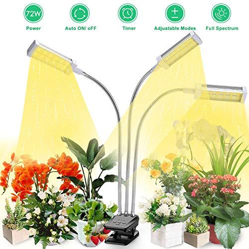 Led Pflanzenlampe Vollspektrum, Vogek Grow Lampe für Zimmerpflanzen, 144 LEDs Pflanzenlicht mit Timing Funktion, 3 Timer 3/6/12H, 3 Arten von Modus, 10 Helligkeitsstufen