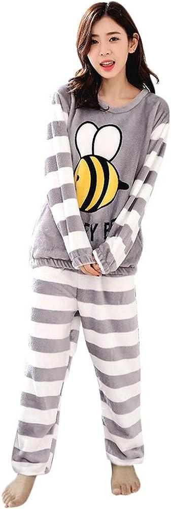 Tomwell Pijamas de Franela para Damas de Otoño e Invierno Cuello Redondo Manga Larga Pijamas Más Suaves