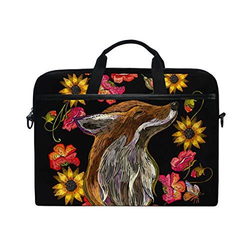 BEITUOLA 15-15.4 Zoll Laptop Taschen,Stickerei roter Fuchs blüht Mode Schablone,Verschiedene Muster multifunktionale Laptop Tasche tragbare Hülle Aktentasche Umhängetasche