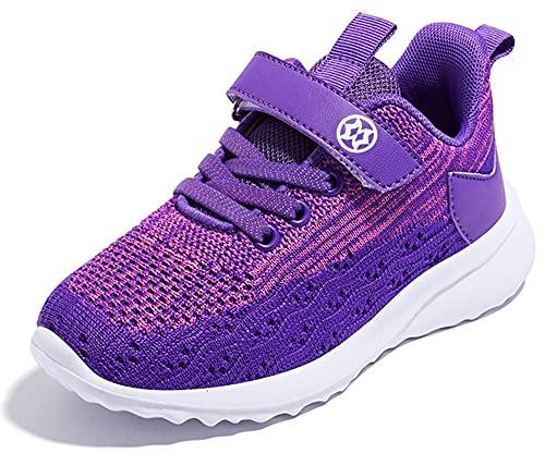 Gaatpot Unisex-Kinder Jungen Sneaker Kinder Sportschuhe Madchen Atmungsaktiv Outdoor Turnschuhe Freizeit Klettverschluss Schuhe Violett 31 EU