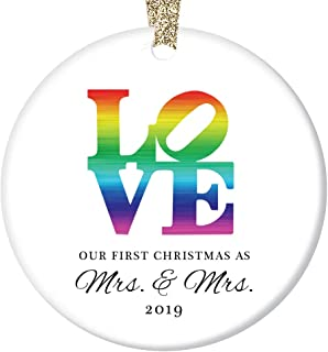 LOVE Christmas Ornament 2019 First Christmas Mrs & Mrs Wedding Present Lesbian Married Couple Gay Women First Holiday Marriage Rainbow Ceramic Keepsake 3