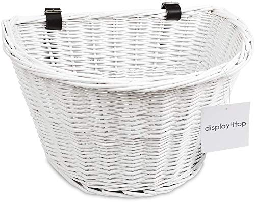 Display4top handgemachte Retro White Wicker Fahrradkorb mit braunen Lederriemen