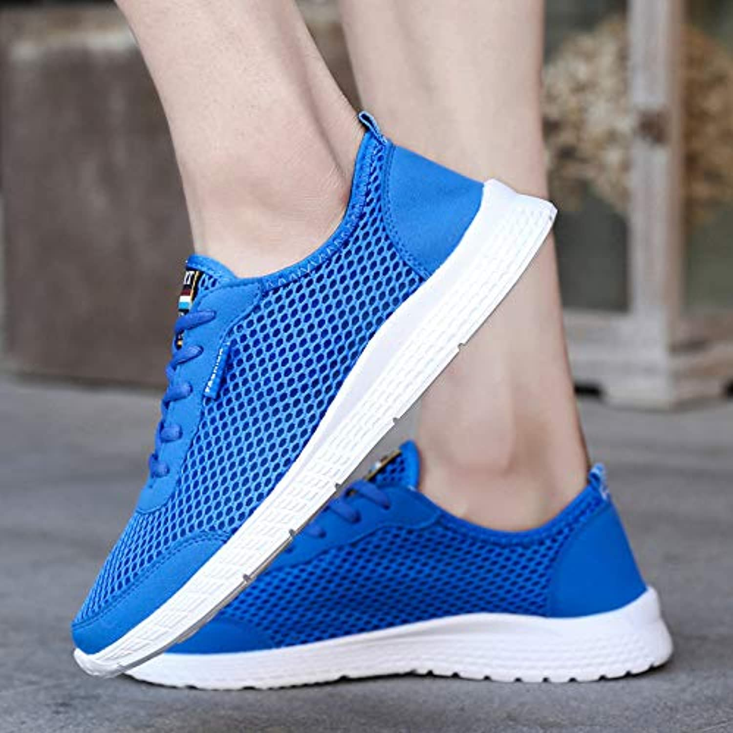 LOVDRAM Men'S shoes Large Size Season Running shoes Mesh shoes Breathable Casual Lightweight Shock Absorber Running shoes 35-50
