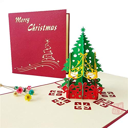Christmas 3D Greeting Card,3D Pop-up Christmas Tree,Handmade Gift Greeting Christmas Cards for Thanksgiving Christmas Eve New Year Wishes Card (Christmas Tree)