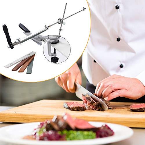 TTLIFE Affilacoltelli Affilacoltelli professionale a 360 ° Set di utensili per affilare i coltelli in acciaio inossidabile con 4 mole L'affilatrice ad angolo fisso può essere ruotata adatta per cucine