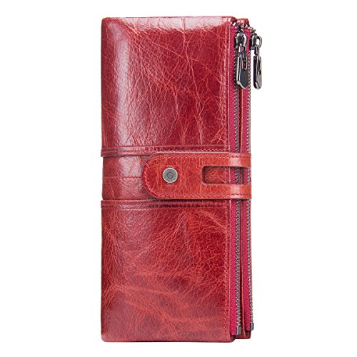 Contacts Frauen-echtes Leder-ID-Karten-Münzen-Telefon-Halter-Reißverschluss-Kupplungs-Geldbeutel-Geldbörse (Rot)