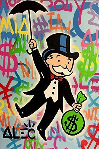 Alec Monopoly Hand Painted Oil Graffiti wall Painting Canvas All stores are sold on Los Angeles Mall