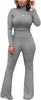 Women 2 Piece Outfit Ribbed Knit Crop Top Wide Leg Long Pants Set Jumpsuit