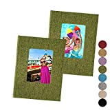 5x7 Photo Album 2-Pack – Each 26 Clear Pages Hold 52 Pictures, Linen Cover with Window, Green Fabric