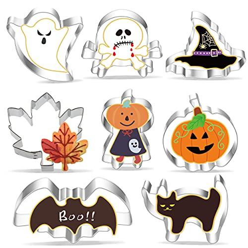 Cortador de Galletas de Halloween, 8 Moldes de Galletas, Juego de cortadores de galleta de Halloween Calabaza, Murciélago, Sombrero de Bruja, Fantasma, Gato, Esqueletos, Hombres Calabaza, Hoja de Arce