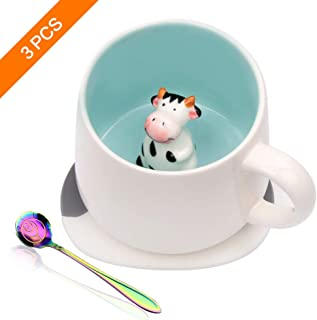 Taocci Cute 3D Cow Inside Coffee Mug Tea Cup Funny Handmade White Ceramic Coffee Cup for Friends Roommate Family or Kids Animal Coffee Cup as Surprise Gift Idea Birthday Gift 13.5 OZ