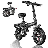 2021 New Folding Electric Bike for Adults Teens, Light Weight, LCD Display with Headlight City Commuter Ebike Electric Bicycle Upgraded Black
