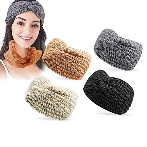 Stirnband, 4 Stück Damen Gestrickt Stirnband,Winter Kopfband Haarband Stirnband, Winter Häkeln Stirnbänder, Elastische Blume Gedruckt Stirnbänder Haarreife Ohr Wärmer für Mädchen