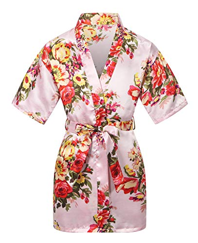 Kid's Satin Floral Kimono Robe Flower Girl Getting Ready Bath Robe for Wedding Party