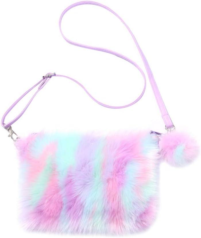 Amosfun hobo Bag Crossbody 1pc Rainbow Plush Ladies Cross-Body Bag Creative One Shoulder Bag Tie-dye Bag