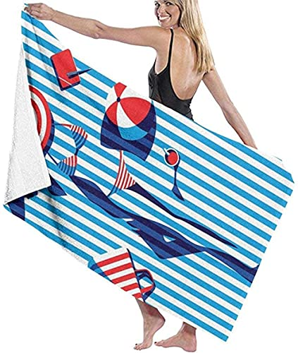 BAOYUAN0 Toalla de Playa Gigante Bikini a Rayas Niñas Pintura artística Manta de Playa Toalla Toalla de baño Grande 80 * 130 cm Accesorios para Acampar Manta de Picnic