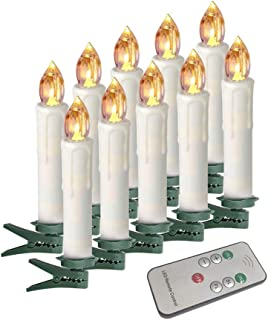 Houdlee LED Flameless Taper Candles with Remote Control and Removable Clips,Flickering 4 Inches Birthday Candles,Set of 10 Warm White Candle for Christmas, Chandelier, Mini Wedding Taper Candles