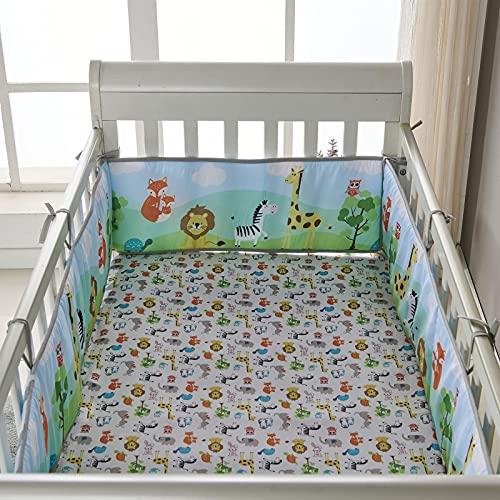 libelyef Revestimientos De Cuna Suaves para Bebés Cojines De Bebé Estampados Evitar Que La Cabeza del Bebé Golpee La Barandilla De La Cuna Almohadillas Protectoras para Cama Infantil
