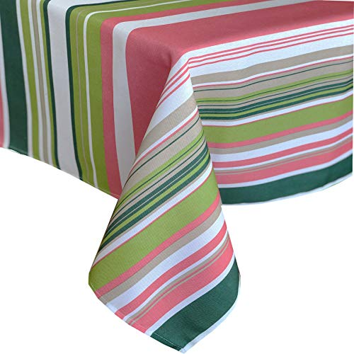Newbridge Boho Chic Contemporary Stripe Indoor/Outdoor Fabric Tablecloth - Mauve and Green Bold Stripe Water Repellent and Mildew Resistant and No Iron Tablecloth, 52 Inch X 52 Inch Square